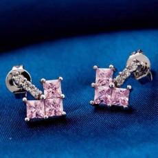ต่างหูเพชร แฟชั่นเกาหลีทองคำขาวรูปหัวใจ CZ White Gold Earrings นำเข้า สีชมพู - พร้อมส่งW358 ลดราคา99บาท