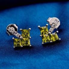 ต่างหูเพชร แฟชั่นเกาหลีประดับเพชรสวิสรูปหัวใจ CZ White Gold Earrings นำเข้า สีเขียว - พร้อมส่งW358 ลดราคา99บาท