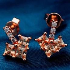 ต่างหูเพชร แฟชั่นเกาหลีประดับเพชรสวิสรูปหัวใจ CZ Rose Gold Earrings นำเข้า สีแชมเปญ - พร้อมส่งW358 ลดราคา99บาท