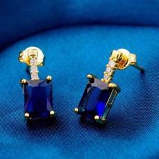 ต่างหูเพชร แฟชั่นเกาหลีประดับเพชรสวิสทรงสี่เหลี่ยมผืนผ้า CZ Gold Earrings นำเข้า สีน้ำเงิน - พร้อมส่งW359 ลดราคา99บาท