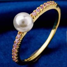 แหวนมุกทองคำ แฟชั่นเกาหลีประดับเพชรคริสตัลสวยหรู 18K Gold CZ Rings นำเข้า ไซส์7 สีชมพู - พร้อมส่งW360 ราคา550บาท