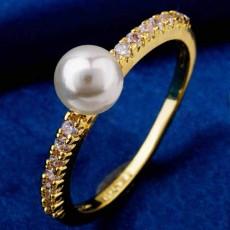 แหวนมุกทองคำ แฟชั่นเกาหลีประดับเพชรคริสตัลสวยหรู 18K Gold CZ Rings นำเข้า ไซส์7 สีขาว - พร้อมส่งW360 ราคา550บาท