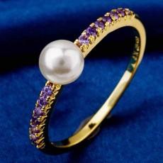 แหวนมุกทองคำ แฟชั่นเกาหลีประดับเพชรคริสตัลสวยหรู 18K Gold CZ Rings นำเข้า ไซส์7 สีม่วง- พร้อมส่งW360 ราคา550บาท