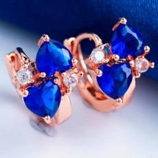 ต่างหูเพชร แฟชั่นเกาหลีแบบห่วงประดับคริสตัลดีไซน์ผีเสื้อ CZ Gold Earrings นำเข้า สีน้ำเงิน - พร้อมส่งW363 ลดราคา99บาท