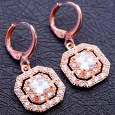 ต่างหูเพชร แฟชั่นเกาหลีแบบห่วงประดับคริสตัลรูป8เหลี่ยม CZ Gold Earrings นำเข้า สีขาว - พร้อมส่งW366 ลดราคา99บาท