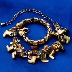 กำไลข้อมือ แฟชั่นเกาหลีสร้อยคริสตัลรูปตัวแอลสวย 18K Gold Bracelet นำเข้า สีทอง - พร้อมส่งW370 ลดราคา129บาท