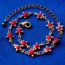 กำไลข้อมือ แฟชั่นเกาหลีสร้อยคริสตัลรูปดาวทองสวยน่ารักใหม่ 18K Gold Bracelet นำเข้า สีแดง - พร้อมส่งW372 ลดราคา129บาท