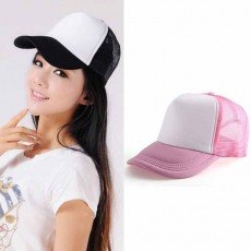 หมวกแก๊ปแฟชั่นเกาหลี ชายหญิงอินเทรนด์ปรับขนาดได้ระบายอากาศสไตล์เบสบอล นำเข้า สีขาวชมพู - พร้อมส่งW391 ราคา290บาท