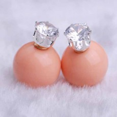 ต่างหูคริสตัล ใหม่แฟชั่นเกาหลีทรงมุกใส่ได้2ด้านสวยCelebrity Pearl Earrings นำเข้า สีชมพู - พร้อมส่งW394 ลดราคา99บาท