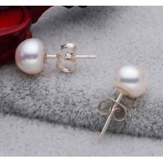 ต่างหูมุกแท้ ขนาด7-8mm สวยหรูหราก้านเงินแท้925 Genuine Pearl Earrings นำเข้า สีขาว - พร้อมส่งW773 ราคา550บาท