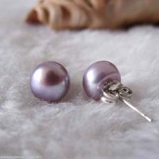 ต่างหูมุกแท้ ขนาด7-8mm สวยหรูหราก้านเงินแท้925 Genuine Pearl Earrings นำเข้า สีม่วง - พร้อมส่งW773 ราคา550บาท