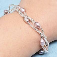 สร้อยข้อมือมุกแท้ ขนาด6.5mmสายทองคำขาว18K White Gold Genuine Pearl Bracelet นำเข้า สีม่วงอ่อน - พร้อมส่งW407 ราคา990บาท