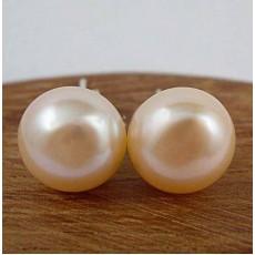 ต่างหูมุกน้ำจืดแท้ ขนาด5mm สวยหรูหราก้านเงินแท้925 Genuine Pearl Earrings นำเข้า สีส้ม - พร้อมส่งW408 ราคา550บาท