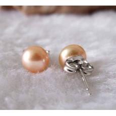 ต่างหูมุกแท้ ขนาด7-8mm สวยหรูหราก้านเงินแท้925 Genuine Pearl Earrings นำเข้า สีส้ม - พร้อมส่งW773 ราคา550บาท