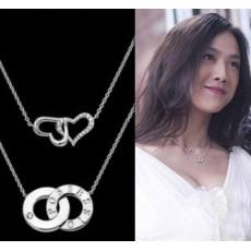 สร้อยคอแฟชั่นเกาหลี รูปหัวใจคล้อง2ดวง Sweet Love Heart Necklace นำเข้า สีเงิน - พร้อมส่งW421 ราคา 250 บาท