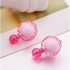 ต่างหูคริสตัล ใหม่แฟชั่นเกาหลีทรงมุกใส่ได้2ด้านสวยCelebrity Pearl Earrings นำเข้า สีชมพู - พร้อมส่งW422 ลดราคา99บาท