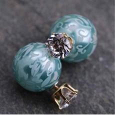 ต่างหูคริสตัล ใหม่แฟชั่นเกาหลีมุก2ด้านสวยCelebrity Pearl Earrings นำเข้า สีฟ้า - พร้อมส่งW430 ลดราคา99บาท
