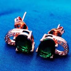 ต่างหูเพชร แฟชั่นเกาหลีประดับเพชรสวิสรูปหัวใจ CZ Rose Gold Earrings นำเข้า สีเขียว - พร้อมส่งW432 ลดราคา99บาท