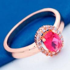 แหวนทองคำ แฟชั่นเกาหลีประดับคริสตัลเพชรสีแดงสวยหรู 18K Gold Rings นำเข้า ไซส์8 - พร้อมส่งW433 ราคา590บาท