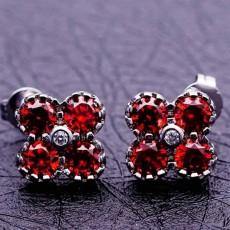 ต่างหูเพชร แฟชั่นเกาหลีแบบห่วงประดับคริสตัลรูปดอกไม้ CZ Gold Earrings นำเข้า สีแดง - พร้อมส่งW434 ลดราคา99บาท