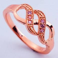 แหวนทองคำ แฟชั่นเกาหลีประดับคริสตัลเพชรสีชมพูสวยหรู 18K Gold Rings นำเข้า ไซส์7 - พร้อมส่งW435 ราคา590บาท