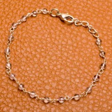 สร้อยข้อมือคริสตัลแท้ สายเงิน Natural Crystal Bracelet สวยใสหรูหรา นำเข้า - พร้อมส่งW441 ราคา990บาท