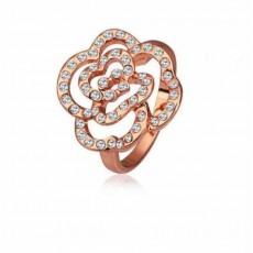 แหวนแฟชั่นเกาหลี ประดับคริสตัลรูปดอกไม้ทองสีโรสเนื้อ9K นำเข้า ไซส์7.5 สีทอง - พร้อมส่งW444 ราคา300บาท