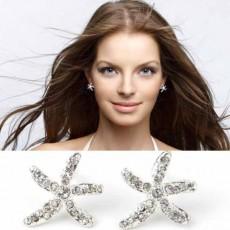 ต่างหูรูปปลาดาว คริสตัลหรูหราใหม่แฟชั่นสวย Elegant Crystal Star Earrings นำเข้า สีเงิน - พร้อมส่งW450 ลดราคา99บาท