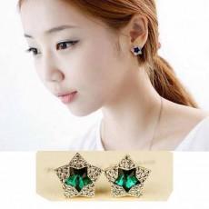 ต่างหูคริสตัล ดวงดาวหรูหราใหม่แฟชั่นเกาหลีสวยครอบเงิน Crystal Star Earrings นำเข้า สีเขียว - พร้อมส่งW459 ลดราคา99บาท
