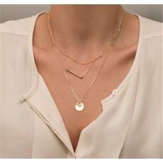สร้อยคอแฟชั่น เส้นเล็ก3ชั้นสวยหรู 3 Chain Necklace นำเข้า สีทอง - พร้อมส่งW473 ราคา250บาท