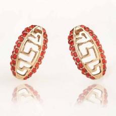 ต่างหูคริสตัล สีแดงระยับรุ่นใหม่แฟชั่นเกาหลีสวย Crystal Chinese Earrings นำเข้า สีทอง - พร้อมส่งW487 ลดราคา99บาท
