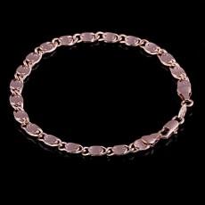 สร้อยข้อมือผู้ชาย แฟชั่นสายโซ่รุ่นใหม่ Rose Gold Men Bracelet นำเข้า สีนาค - พร้อมส่งW489 ราคา250บาท