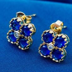 ต่างหูเพชร แฟชั่นเกาหลีประดับคริสตัลทองคำ CZ Gold Earrings นำเข้า สีน้ำเงิน - พร้อมส่งW504 ลดราคา99บาท