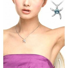 สร้อยคอคริสตัล แฟชั่นรูปดาวสวยหรูสวมนำโชค Crystal Star Necklace นำเข้า สีฟ้า - พร้อมส่งW510 ลดราคา99บาท