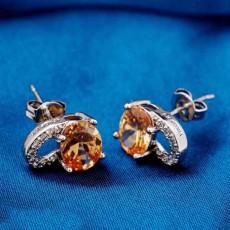 ต่างหูเพชร แฟชั่นเกาหลีประดับเพชรสวิสรูปหัวใจ CZ White Gold Earrings นำเข้า สีแชมเปญ - พร้อมส่งW512 ลดราคา99บาท