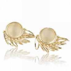 ต่างหูคริสตัล แฟชั่นเกาหลีดีไซน์ห่วงทองใส่สวยหรูมาก Ear Drop Earring นำเข้า สีทอง - พร้อมส่งW537 ลดราคา99บาท
