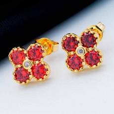 ต่างหูเพชร แฟชั่นเกาหลีประดับคริสตัลรูปดอกไม้ทอง18K CZ Gold Earrings นำเข้า สีแดง - พร้อมส่งW538 ลดราคา99บาท
