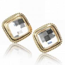 ต่างหูคริสตัล แฟชั่นเกาหลีดีไซน์สีเหลี่ยมใส่สวยหรูมาก Square Earring นำเข้า สีทอง - พร้อมส่งW539 ลดราคา99บาท