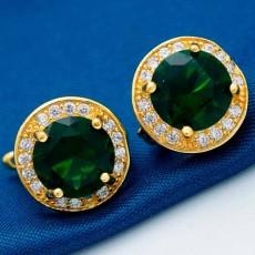 ต่างหูเพชร แฟชั่นเกาหลีประดับคริสตัลรูปทรงกลมทอง18K CZ Gold Earrings นำเข้า สีเขียว - พร้อมส่งW540 ลดราคา99บาท
