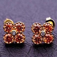 ต่างหูเพชร แฟชั่นเกาหลีประดับคริสตัลรูปดอกไม้ทอง18K CZ Gold Earrings นำเข้า สีแชมเปญ - พร้อมส่งW541 ลดราคา99บาท