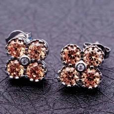 ต่างหูเพชร แฟชั่นเกาหลีประดับคริสตัลดอกไม้ทองคำขาว 18K CZ Earrings นำเข้า สีแชมเปญ - พร้อมส่งW541 ลดราคา99บาท