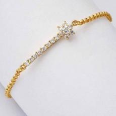 กำไลคริสตัล แฟชั่นเกาหลีใหม่สวยดีไซน์ดอกไม้หรูหรา CZ 9K Gold Bracelet นำเข้า สีทอง - พร้อมส่งW545 ลดราคา129บาท