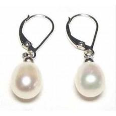ต่างหูมุกน้ำจืดแท้ ขนาด8mmสวยหรูหราก้านเงินแท้925 Genuine Pearl Earrings นำเข้า สีขาวมุก - พร้อมส่งW548 ราคา750บาท