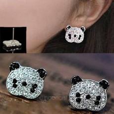 ต่างหูคริสตัล แฟชั่นเกาหลีรูปหมีแพนด้า Panda Charm Crystal Earring นำเข้า สีเงิน - พร้อมส่งW553 ลดราคา99บาท