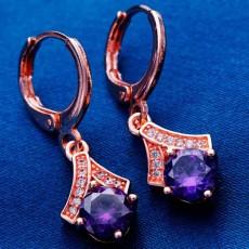 ต่างหูเพชร แฟชั่นเกาหลีแบบห่วงทองคำคริสตัลรูปหยดน้ำ CZ Gold Earrings นำเข้า สีม่วง - พร้อมส่งW558 ลดราคา99บาท