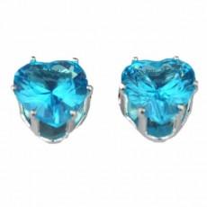 ต่างหูคริสตัล แฟชั่นเกาหลีรูปหัวใจ Silver Heart Crystal Earring นำเข้า สีฟ้า - พร้อมส่งW563 ลดราคา99บาท