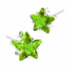 ต่างหูคริสตัล แฟชั่นเกาหลีรูปดาว Silver Star Crystal Earring นำเข้า สีเขียว - พร้อมส่งW565 ลดราคา99บาท