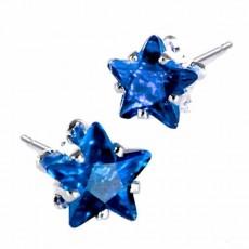 ต่างหูคริสตัล แฟชั่นเกาหลีรูปดาว Silver Star Crystal Earring นำเข้า สีน้ำเงิน - พร้อมส่งW565 ลดราคา99บาท