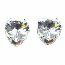 ต่างหูคริสตัล แฟชั่นเกาหลีรูปหัวใจ Silver Heart Crystal Earring นำเข้า สีขาว - พร้อมส่งW563 ลดราคา99บาท