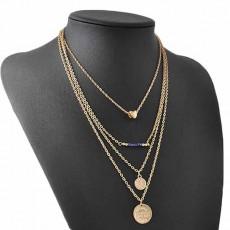 สร้อยคอแฟชั่น เส้นเล็กยาวระย้า4ชั้นสวยหรู 4 Chain Necklace นำเข้า สีทอง - พร้อมส่งW573 ราคา300บาท